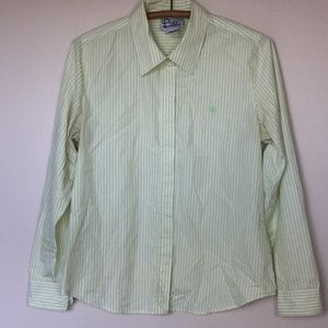 LILLY PULITZER Lime & White Stripe Button Up 10